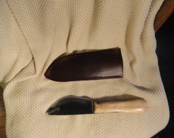 hand forged skinning/hunting knife, deep belly blade, ash handle, leather sheath