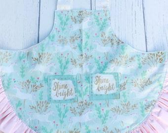 Kids Unicorn Apron - girls apron, gold, blue, pink, ruffle, bow