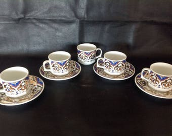 Gural Porselen Demitasse Espresso 5 Cups and 4 Saucers - Blue and Gold - From Turkey