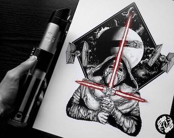 A3 - AWAKENING - Art Print - Kylo Ren Design Star Wars First Order Illustration - Dotwork Linework - Dark Art - Tattoo - Blackwork