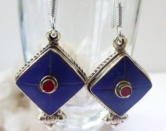 Ethnic, white metal, lapis lazuli and coral coloured earrings, UK seller