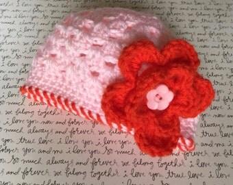 Crochet Baby Hat, New Born Girl Hat, Baby Girl Hat, Baby Girl New born Hat, New Born Baby Hat, Baby Girl Beanie, Free Shipping USA