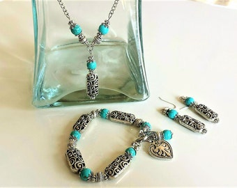 Antique Turquoise Jewelry Set,Silver Chain Necklace,Valentines Day Gifts,Turquoise Silver Jewelry Set,Heart Charm Bracelet,Antique Earrings