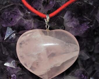 Rose Quartz Heart Pendant with Our Signature Red Cord
