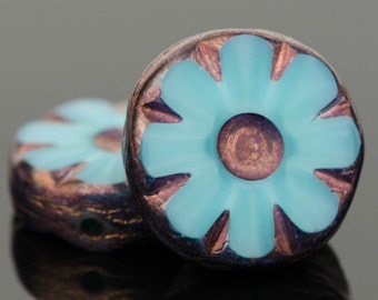 Czech Glass Beads - Czech Coin Beads - Czech Flower Beads - Turquoise Silk with Bronze Finish - 12mm Beads - 5 or 15 Beads