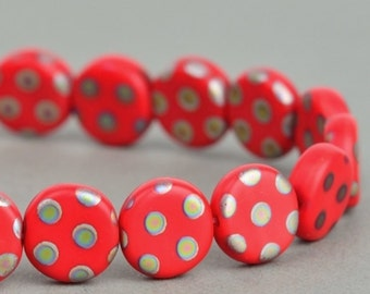 Czech Glass Beads - Czech Coin Beads - Red Opaque Matte with Vitrail Dot - 8mm Beads - 25 beads