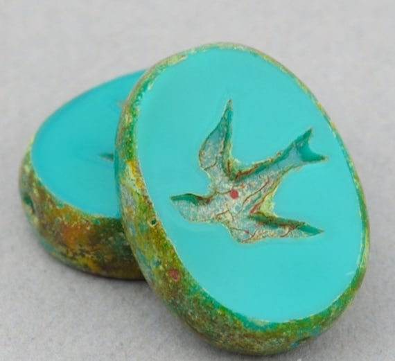 Czech Glass Beads - Bird Beads - Oval Swallow Beads - Turquoise Green Opaque with Picasso - 16x12mm Beads - 5 or 10 beads