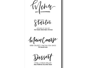 Hand lettered 3-Course Menu