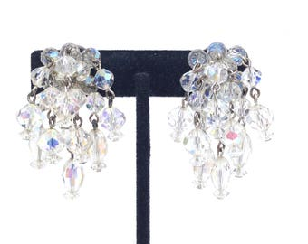 Intriguing Vintage Estate Signed Laguna AB Crystal GLASS Clip Earrings