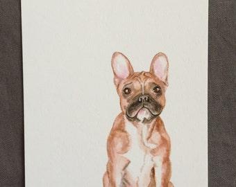 Illustrated dog postcard Frenchie French bulldog