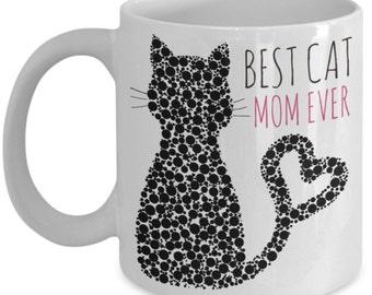 Cat Coffee Mug - Best Cat Mom Ever - 11 oz Gift Mug