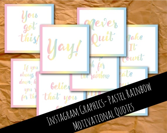 Instagram graphics, motivational quotes, pastel rainbow, graphics, Instagram template, Instagram images, Instagram photos, branding, digital