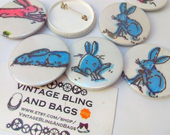 Blue rabbit badge, Easter Bunny, Easter Bunny badge, bunny badge, rabbit badge, Easter Bunny pin badge, bunny rabbit, bunny rabbit badge,