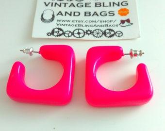 NOS, 3.1cm, pink, Vintage, earrings, 1980s, pin hoops, vintage earrings, pink hoop earrings, pink earrings, square hoop earrings, kitsch