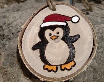 Wood Burned Ornament -- Santa Penguin, white birch wood, Christmas ornament
