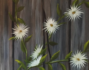 Old Fence| Floral Painting|Floral Art| Nature Painting| Flower Lover
