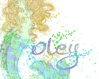 Watercolor Splatter Mermaid - Personalized