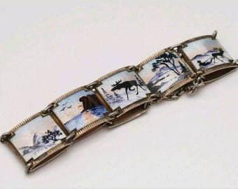 Nils Elvik Antique Vintage Norwegian Sterling Silver and Enamel Scenic Bracelet