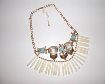 Blue Turquoise Orange Gold Diamond Statement Piece Bib Necklace- Jewlery