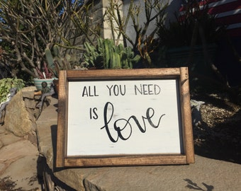 All You Need Is Love Sign, Rustic Love Sign, Framed Wood Love Sign, Distressed White Love Sign