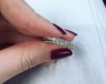 9ct Gold Twisted Band and 925 Sterling Silver & CZ Eternity Ring