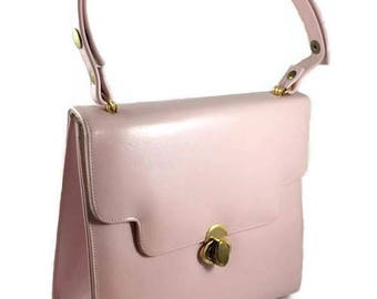 1960s Frenchy of California Pink Leather Purse - Vintage 60s Handbag - Adjustable Leather Strap