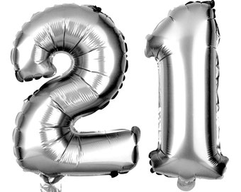 21 Number Balloons, 21st Birthday Party Balloons, 21 Balloon Numbers, 21 Party Supplies, 21st Birthday Decorations, Decor, 40 Inch Silver