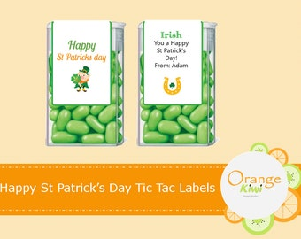 Happy St Patrick's Day Tic Tac Labels, Leprechaun Tic Tac Wraps, Luck of the Irish Labels
