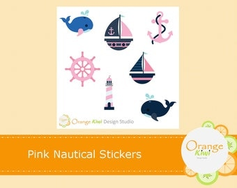 Pink Nautical Planner Stickers, Vacation Planner Stickers, Pink Whale Stickers, Weekend Stickers, Scrapbook Stickers, Sample Stickers