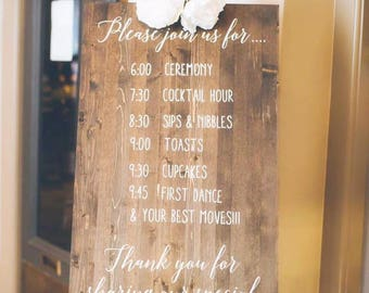 Customized Wedding/Reception Itinerary, Hand Painted