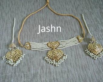 Jadua stones gold plated Hyderabadi choker pearl, semi precious stones, Indian Jadavi, Jhumka , Lucknow Jadua necklace