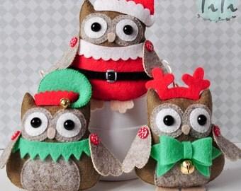 Christmas ornaments, SET of 3 Christmas ornaments, Felt Winter Ornaments, Christmas decor tree Christmas decor, Felt owls Santa Reindeer Elf