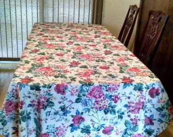 Large rectangular floral tablecloth