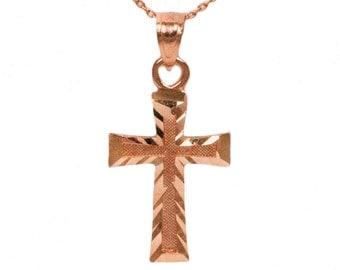 14k Rose Gold Cross Necklace