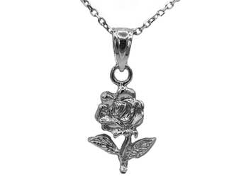 925 Sterling Silver Rose Necklace