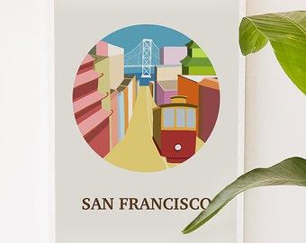 San Francisco, California, city art, city, illustration, digital, art print