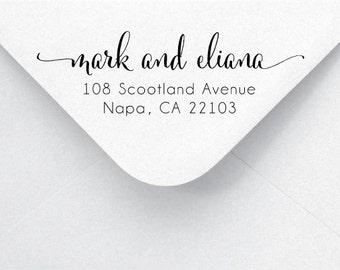 Return Address Stamp - Calligraphy & Handwriting Font. Handle or Self-Inking Return Address Stamp (AA67)