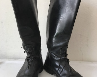 Police Style Long Vintage Black Genuine Shabby And Heavy Leather Boots Strong & Rigid With Buckles Men's Size 12.