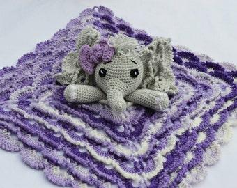 Elephant lovey/ Crochet Elephant lovey blanket /Baby shower gift / Lovey blanket / Security blanket / Elephant blanket / Snuggle blanket