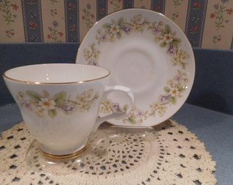 Fine Bone China Crown Trent Staffordshire England Tea Cup and Saucer from the 1980's NEW! Never Used