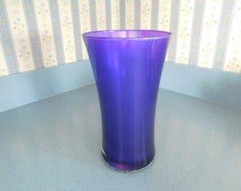 """Vintage Cobalt Blue/Deep Purple Glass Vase 9"""" Tall"""