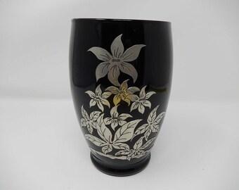 Black glass vase set with pewter