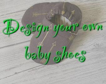 Design your own baby shoes, baby booties, choose your fabric, 100% cotton, baby shoes, crawl shoes, pram shoes.
