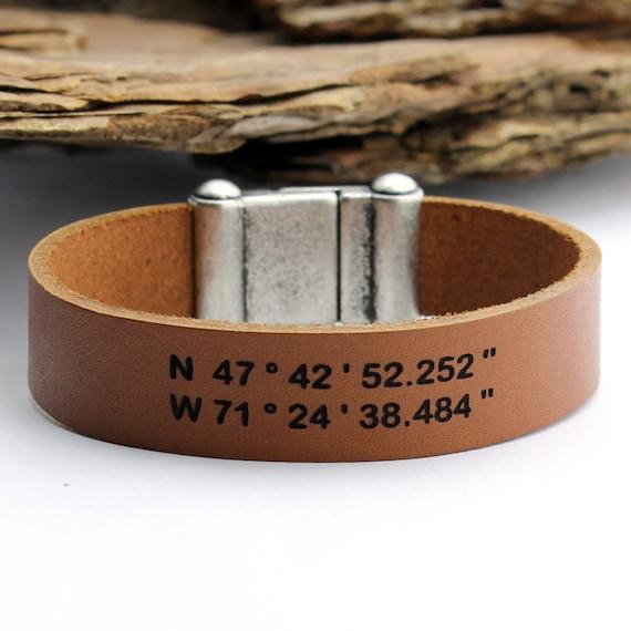 personalized leather bracelet engraved bracelet by