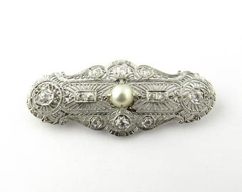 Antique 14K White Gold Diamond and Pearl Filagree Pendant Brooch #1404