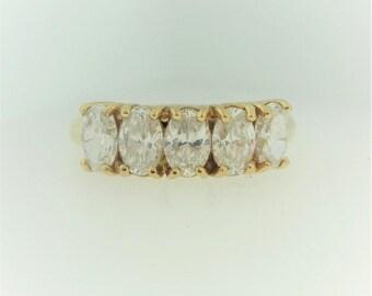 Oval Cut Diamond CZ Wedding Ring - Oval Diamond Wedding Band in 10k Yellow Gold