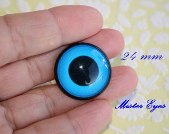 Safety Eyes Blue 24mm for plush animal amigurumi bear cat dog plastic eyes