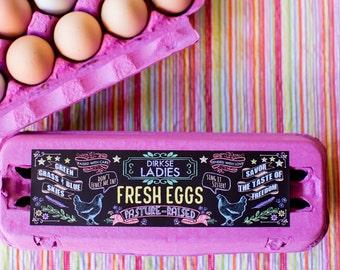 Custom Egg Carton Labels - Chalkboard Style - Full Dozen Carton Labels