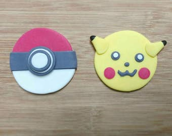 Pokemon cupcake toppers. Pikachu cupcake toppers. Pokeball cupcake toppers