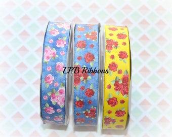 7/8 Ribbon, Roses Ribbon, US Designer Ribbon, Denim Ribbon, Ribbon by the Yard, Grosgrain Ribbon